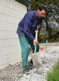 Drainage gravel may be used for landscaping purposes.