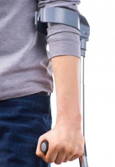 Elbow crutches employ a cuff wrapped around the forearm.