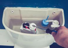 DIY toilet repair experts recommend replacing all of the internal parts at the first sign of trouble since they are inexpensive and easy to swap out.