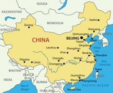 A map of China, where the Leshan Giant Buddha is located.