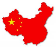 An illustration of China with the Chinese flag superimposed on it.