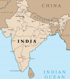 Sri Lanka lies below India in the Indian Ocean.