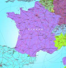The French territory is first divided into 26 regions, 22 in Metropolitan France and four overseas.