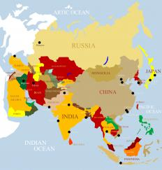 A map that includes many of the countries studied in postcolonial criticism.
