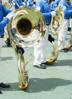 The tube of a tuba ranges in length from 12 to 18 feet.