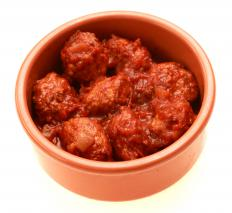 Meatballs in adobo sauce.