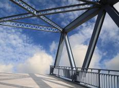 Steel beams may be used in bridge construction.