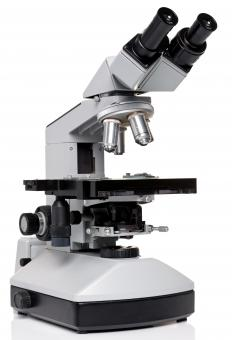 A binocular microscope features two eyepieces instead of one.