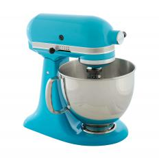 A stand mixer may be used to mix ingredients for cheesecake.