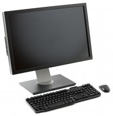 A desktop computer, keyboard, and mouse.