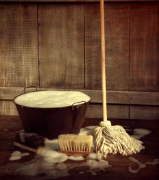 Wet mops are usually made of cotton.