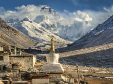 The air pressure on top of Mount Everest is about a third of that at sea level.