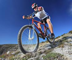 A man mountain biking.