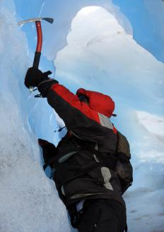 Crampons help mountaineers climb slippery vertical surfaces.