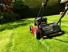 Students can earn money for their school by mowing lawns.