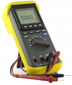 A multimeter, which can be used to measure voltage and amps.