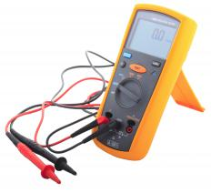 A multimeter, which can be used to measure resistance.