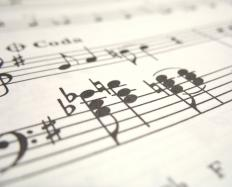 Sheet music is commonly placed on a music stand for reading by a musician.