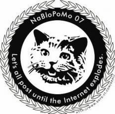 An example of a NaBloPoMo badge shows that a blog is participating and links it back to the host site.