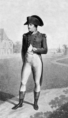 Napoleon Bonaparte's is often shown wearing a cocked hat.