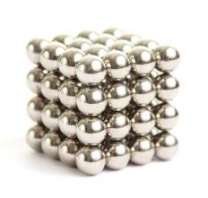 Neodymium spheres can be stacked to make a magnetic cube.