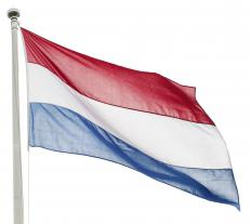 The flag flown by the Netherlands, where the Hague is.