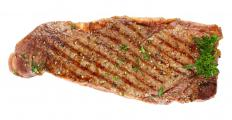 A cooked New York strip steak.