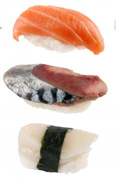 Nigiri sushi assortment.