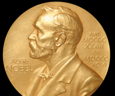 One of the medals awarded to Nobel Prize winners. It features an image of Alfred Nobel, after whom nobelium is named.