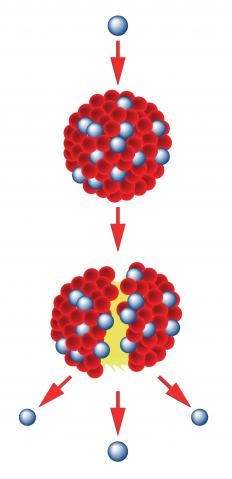 In nuclear fission, atomic nuclei split apart to release energy.