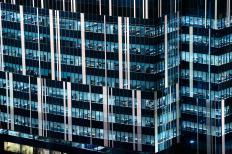 It is common to use flood lighting to accentuate the architectural features of an impressive building.