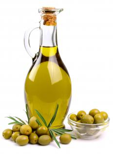 Large Spanish olives with spices are a popular tapas dish in Spain.