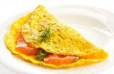 Lunch meat can be added to omelets.