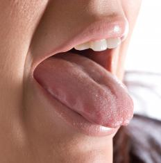The human tongue helps create sound.