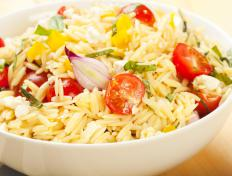 Orzo salad including tomatoes, sweet peppers and onions