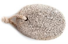 A pumice stone, which can be used to smooth rough heels.