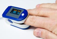 A pulse oximetry measurement is usually taken on the finger using a small clip.