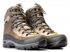 Hiking boots are often made with waterproof fabric as well as rubber soles for added protection against moisture.