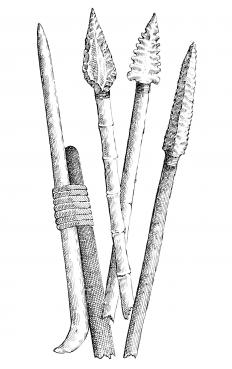 Composite tools and weapons, including spears with sharpened stone or bone tips, began to appear after the Middle Paleolithic began 300,000 years ago.