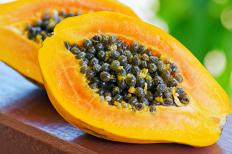 Papaya, also sometimes called pawpaw, is rich in fiber and vitamins such as A, C and E.