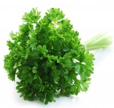 Meat trays often include garnishes, such as parsley.