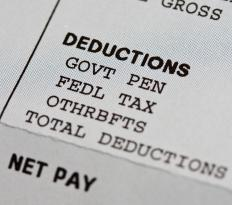 Payroll stubs list all deductions made from an employee's check.