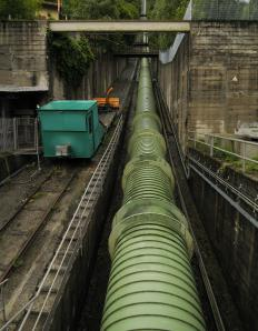 A penstock is used to feed or carry away water.