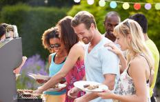 A free-standing electric barbecue grill can be useful for outdoor parties.