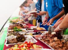 Catering pans can be leased or bought.