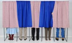 Privacy curtains may be employed with voting booths.