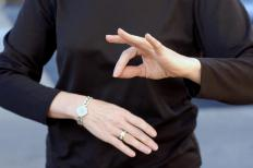 Sign language interpreters translate spoken language into sign language for the deaf or hearing impaired.