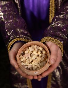 Historically, cups of frankincense were placed on top of piles of showbread.