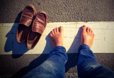 Diabetics should typically avoid being barefoot outside of the home.