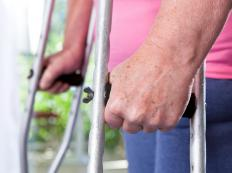 Crutches may be used to keep the weight off of a healing tendon.